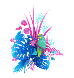 green parrot and colorful tropical plants vector image