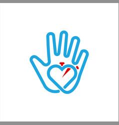 hand heart care sport logo design template vector image