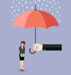 hand holding an umbrella protecting business woman vector image