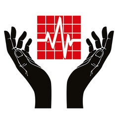 Hand with cardiogram symbol vector