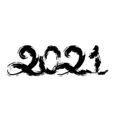 handdrawn in black paint numbers 2021 vector image