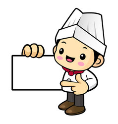 happy chef character is promoting a business card vector image