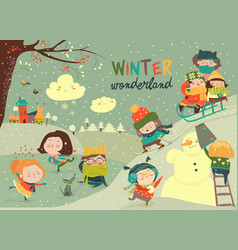 happy cute kids playing winter games hello winter vector image