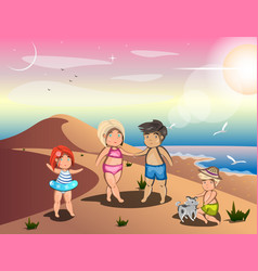 happy family on summer vacation vector image