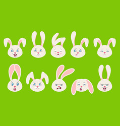 Heads rabbit with different emotions - cheerful vector