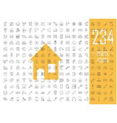 house linear icons big set thin line contour vector image