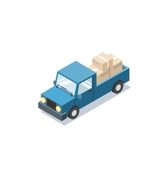 Isometric blue wagon car with boxes minivan trucks vector