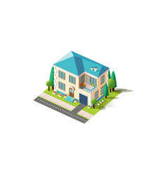 Isometric facade beige penthouse vector