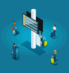 Isometric infographics concept airport vector