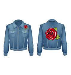 Jeans jacket with roses patch vector