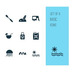 Journey icons set with beach with surf suitcase vector