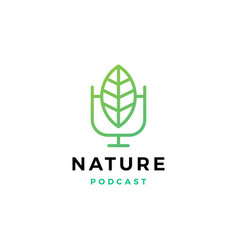leaf podcast logo icon for nature blog video vlog vector image