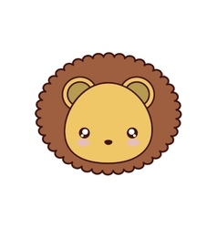 Lion kawaii cute animal icon vector