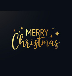 Merry christmas gold hand drawn lettering shine vector