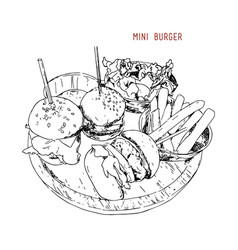 mini burgers vector image