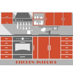 Modern kitchen interior in flat style vector image
