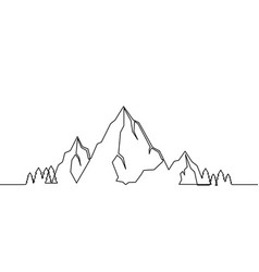 mountains landscape one line drawing vector image