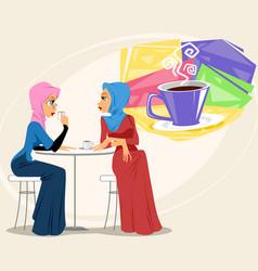 Muslim women in coffee shop vector