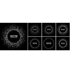 new year 2019 card silver backgrounds set vector image