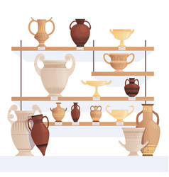 old jug on shelves antique vessel in museum vector image
