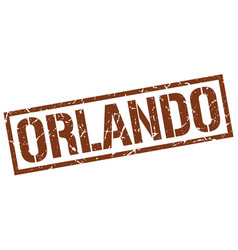 Orlando brown square stamp vector