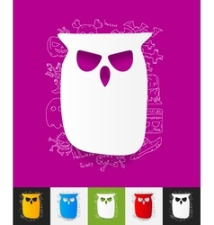 owl paper sticker with hand drawn elements vector image