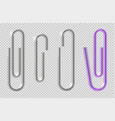 Paper clips realistic metal clip for sheets vector