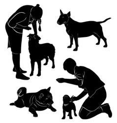 People and dogs vector