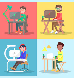 People at the table working on computer set vector