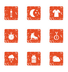 Physical condition icons set grunge style vector