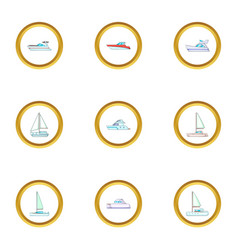 pleasure boat icons set cartoon style vector image