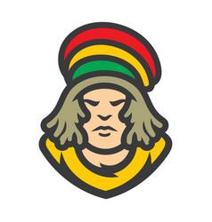 rastafarian reggae boy cartoon vector image