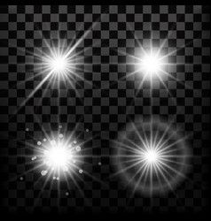 Realistic star lights and glow light beam or vector