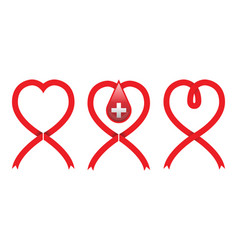 red cross on ribbon heart shape vector image