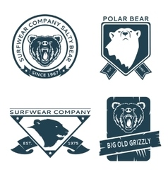 Retro vintage bear head logo templates set vector image
