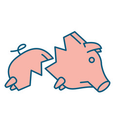 Sad broken piggy bank or money box vector