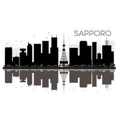 Sapporo city skyline black and white silhouette vector