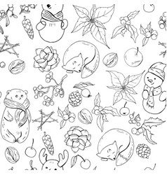 seamless pattern with christmas vintage decoration vector image