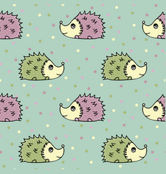 seamless pattern with lovely hand-drawn hedgehogs vector image