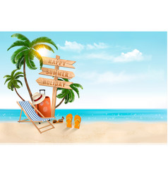 seaside vacation travel items on the beach vector image