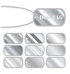 set a steel dog tag vector image