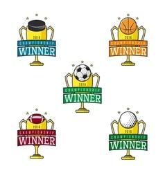 set labels sport winner vector image