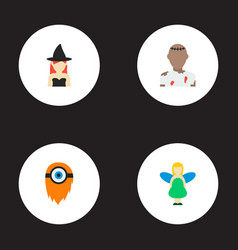 set of fantasy icons flat style symbols with witch vector image
