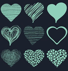 Set of hand drawn sketch hearts for Valentines Day vector