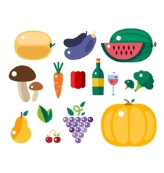 Set of harvest cartoon fruit icons vector image