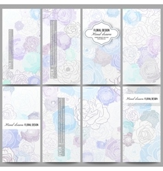 Set of modern flyers Hand drawn floral doodle vector image