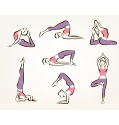 set of yoga and pilates poses stylized symbols vector image