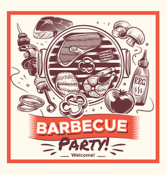 sketch bbq hand drawn barbecue grilled food vector image