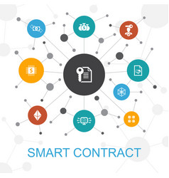 Smart contract trendy web concept with icons vector