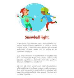 snowball fights children playing snow outdoors vector image